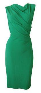 Emerald Green Stretch Twist Front Shift Dress Farrah Size 10 New