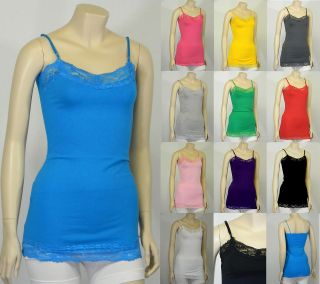 Basic Cotton Plain Spaghetti Strap Lace Trim CAMI TANK TOP Camisole