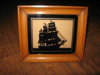 Antique Reverse Painting Glass Nova Scotia Clipper Ship Barkentine