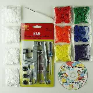 KAM Snaps Starter Kit Pliers/Awl/100 Sets for Cloth Diapers/Baby Bibs
