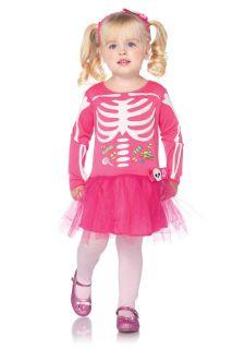Candy Skeleton Pink Dress and Headband Kids Halloween Costume NEW