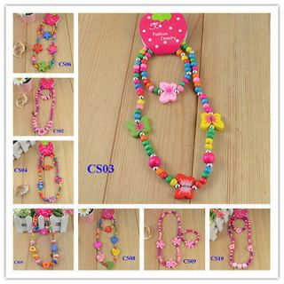 Wholesale 10 sets children Jewelry Mixed Design Wood Beads Necklace