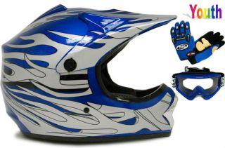 YOUTH BLUE FLAME DIRT BIKE ATV MOTOCROSS OFF ROAD MX HELMET+GOGGLES