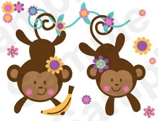 JUNGLE MONKEY PINK NURSERY BABY GIRL KIDS ROOM WALL BORDER STICKERS
