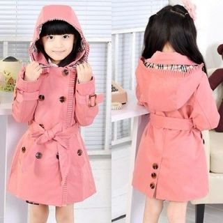 Kids Girls High Quality Double Breasted Hooded Jacket Outwear