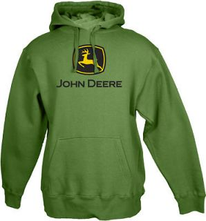 John Deere Mens Pull Over Hooded Sweatshirt Hoody Green New