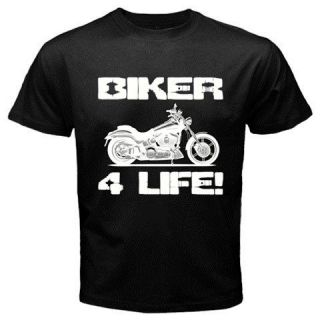 BIKER 4 LIFE motorcycle club gang motorcycle motorbike Black T shirt