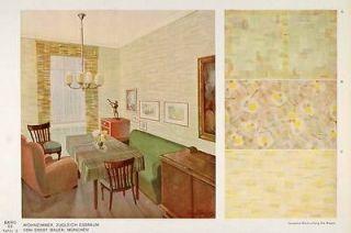 1932 Art Deco Living Room Sofa Table Wallpaper Print   ORIGINAL