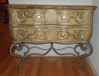 Beautiful French Provincial 2 Drawer Distressed Fruitwood Dresser by