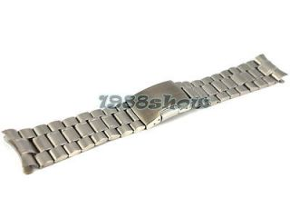 New 18mm~24mm Brushed Solid Stainless Steel Strap Bracelet Curved End