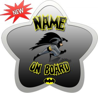 Personalised Star Shaped Batman Child/Baby on Board Car Sign New