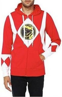 mens mighty morphin power ranger red zip hoodie xl nwt