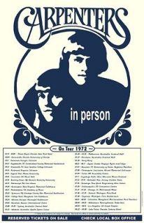 The Carpenters 1972 box office concert POSTER Karen WORLD TOUR dates