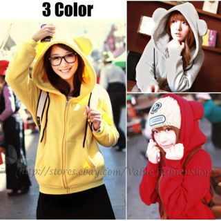 Korean Fashion Womens Cute Zip Up Ear Hoodie Loose Long Hooded