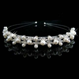 Bridal Rhinestone Faux pearl headpiece crystal Hair tiara Comb HR165
