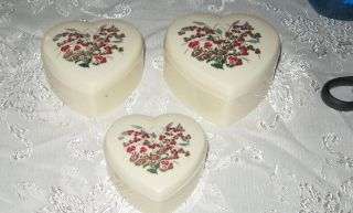 Vintage Set 3 Heart Shaped Hard Plastic Floral Nesting Boxes
