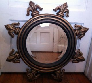 Large Antique Fleur De Lis Round Gold WALL MIRROR OLD Wood Carved
