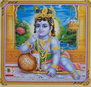 Lord Krishna Baby Baal Krishna   Religious POSTER   Size: 10x10