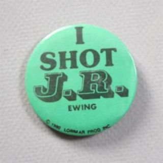 SHOT J.R. EWING Pinback BUTTON Bright Green Larry Hagman TV Dallas
