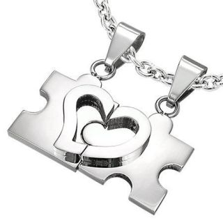 puzzle heart autism silver stainless steel necklace
