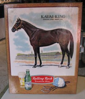 Rolling Rock Advertisement Sign Kauai King, Kentucky Derby Winner 1966