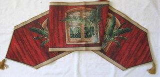 Tropical Palm Jacquard Woven Tapestry Table Runner 70 Looking Out Red