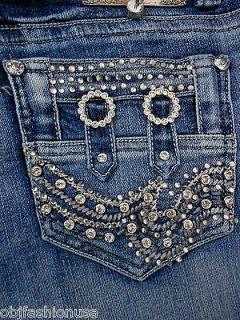 New LA Idol Blue Jeans Plus Size Crystal Jeweled Pockets Skinny