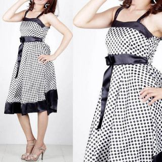 Japan Korea Fashion Style polka dot Spaghetti Strap Dress E202 WHITE