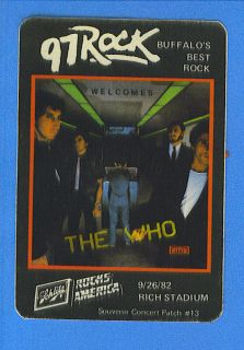 THE WHO CONCERT PATCH SEPT.26,1982 @ RICH STADIUM ORCHARD PARK, N.Y.