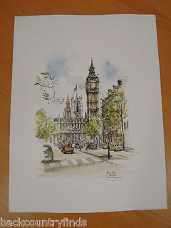Jan Korthals Dutch Artist Big Ben London England Street Scene Print