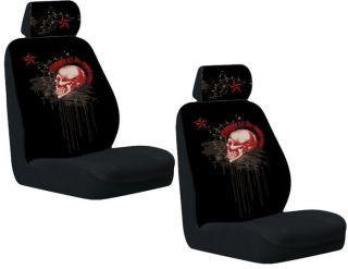 Black Maroon Red Mohawk Skull Head Skeleton Auto Car Seat Covers