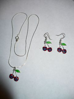 rebel flag cherry necklace and matching ear rings time left