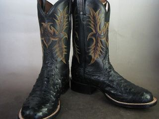Tony Lama 11 black FULL QUILL ostrich cowboy Boots Style # CP1307