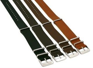 22MM LEATHER NATO Style MILITARY WATCH BAND SOLID Strap G 10 FITS