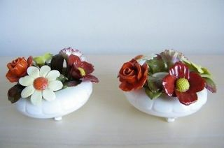 Vintage Large Pair ROYAL ADDERLEY Floral Bouquet Bone China Footed