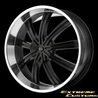 22 x9.5 KMC Wheels KM672 Widow Matte Black Machined 5 6 Lug Rims FREE