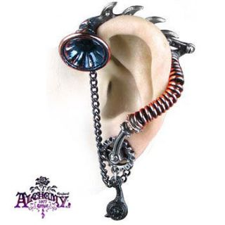 NEW Alchemy Gothic HIS MASTERS VOICE EAR TRUMPET EARRING Steampunk