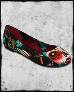 IRON FIST LUCKY LUCY DAY OF THE DEAD SUGAR SKULL ROSE TATTOO FLATS