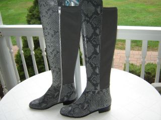 MICHAEL KORS GRAY SNAKE LEATHER BROMLEY RIDING BOOTS NEW 6.5