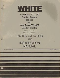 WHITE GT1120 YARD BOSS GARDEN TRACTOR OPERATORS MANUAL