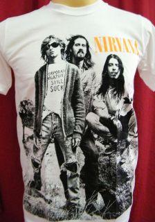 NIRVANA band Kurt Cobain Dave Grohl Krist Novoselic rock t shirt size
