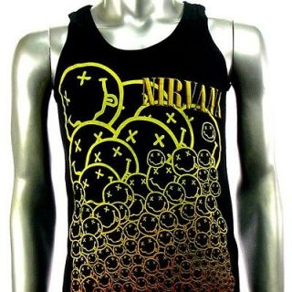 Sz L Nirvana Kurt Cobain T Shirt Tank Top Vest Biker Punk Rock V8