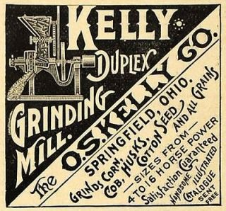 1890 Ad O.S. Kelly Duplex Grinding Corn Grain Mill Agriculture