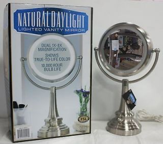 SUNTER Natural Daylight Lighted Vanity Mirror Dual 1x8 Magnification
