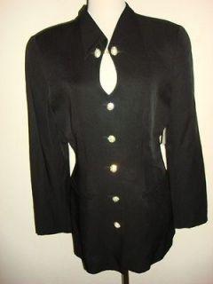 Marshall Rousso Las Vegas Black suit Jacket crystal large gold tone