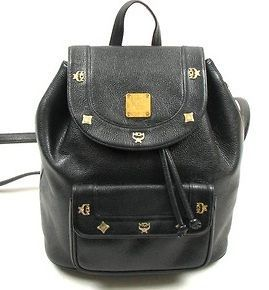 MCM Women Black Leather Backpack Schoolbag Bookbag Bag Authentic!