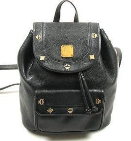 MCM Women Black Leather Backpack Schoolbag Bookbag Bag Authentic!