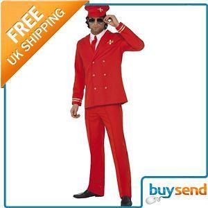 adult virgin red flyer pilot fancy dress costume medium time