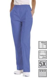 NEW Landau 8320 Creased Front Classic Womens Scrub Pant CEIL BLUE XS