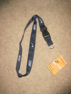 nike lanyard navy blue detachable keychain id holder nwt
